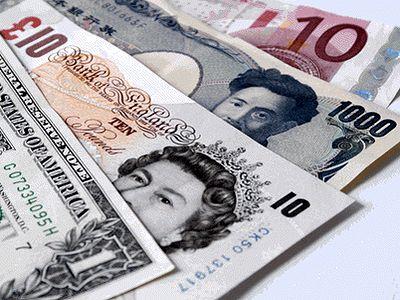 1 доллар, 10 фунтов, 1000 иен, 10 евро