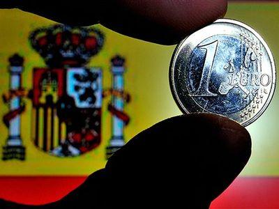 1 Евро на фоне испанского флага