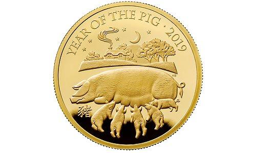 Золотая монета к 2019 Новому году свиньи